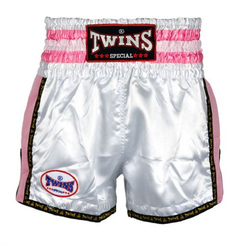 Twins TWS-926 White/Pink Retro Muay Thai Shorts